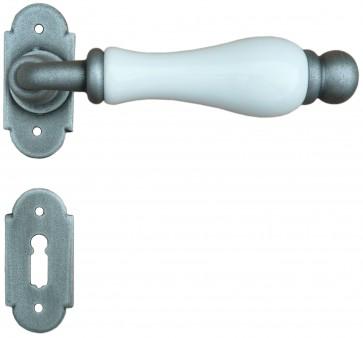 Maniglia Classica per Porta in ferro battuto con porcellana Galbusera Art.1-08 Silver