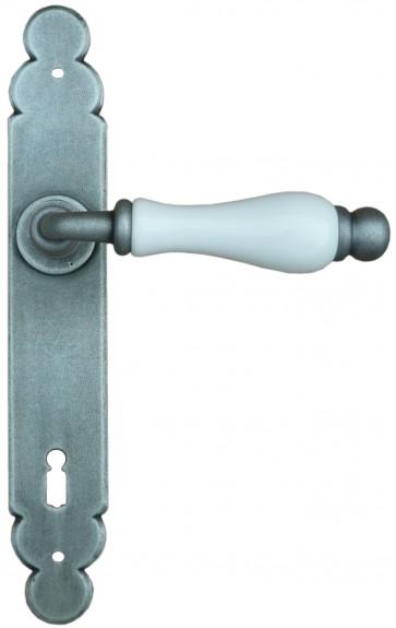 Maniglia Classica per Porta in ferro battuto con porcellana Galbusera Art.1-09 Silver Zinc