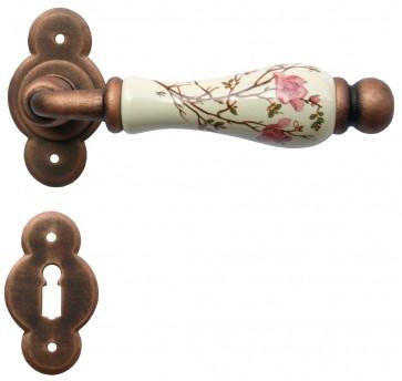 Maniglia Classica per Porta in ferro battuto con porcellana Galbusera Art.1-20 Ramato