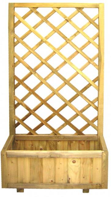 Fioriera con grigliato rettangolare legno pino giardino 75x30x180h