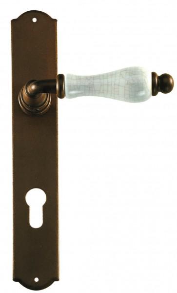 Maniglia Classica per Porta in ferro battuto con porcellana Galbusera Art.2-10 Ant. Ruggine
