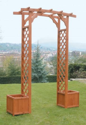 Arco grigliato con fioriera legno cm 172x55x230h
