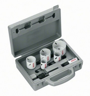 BOSCH Set di seghe a tazza 9 pezzi mm. 22-29- 35- 44 -51- 64 + adattatore power change 9,5 mm 2608584666