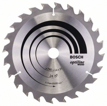 Bosch Lama per sega circolare Optiline Wood 190 x 20/16 x 2,6 mm, 24