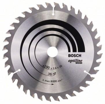 Bosch Lama per sega circolare Optiline Wood 190 x 20/16 x 2,6 mm, 36