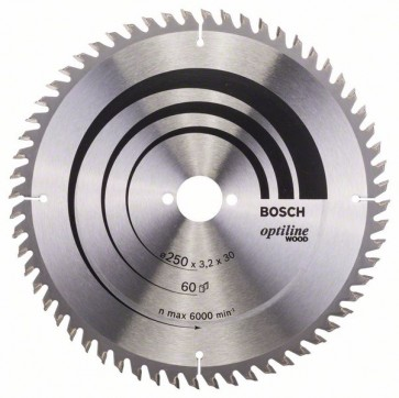 Bosch Lama per sega circolare Optiline Wood 250 x 30 x 3,2 mm, 60