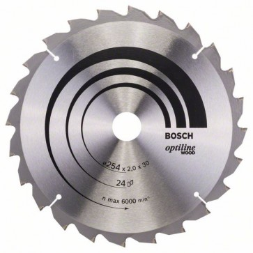 Bosch Lama per sega circolare Optiline Wood 254 x 30 x 2,0 mm, 24