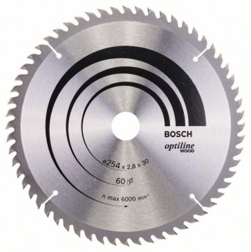 Bosch Lama per sega circolare Optiline Wood 254 x 30 x 2,8 mm, 60