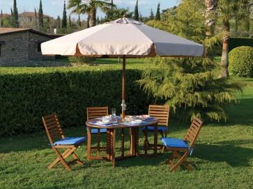 Arredo Elippse legno acacia tavolo e 4 sedie 150x110x75h
