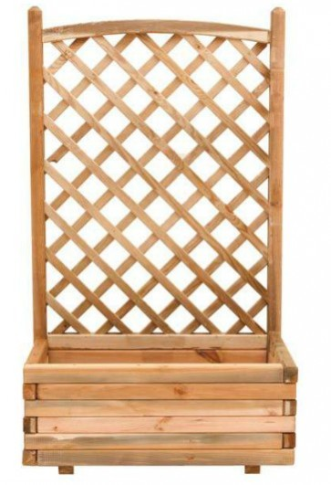 Fioriera con grigliato sagomato legno pino giardino 80x40x180h