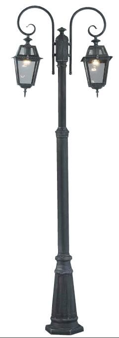 Lampione da esterno MILANO 2 bracci altezza 220 cm alluminio colore grigio ghisa