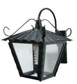 Lanterna ferro battuto GARDEN con braccio 23x23x30h nero anticato