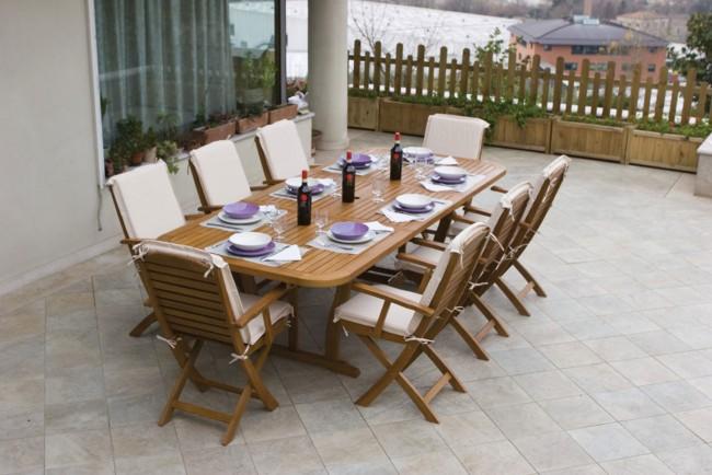 Set arredo imperiale 8 posti in legno tavolo 180x100x75h for Set arredo giardino