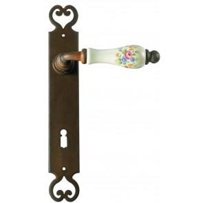 Maniglia Classica per Porta in ferro battuto con porcellana Galbusera Art.2600 Ant. Ruggine