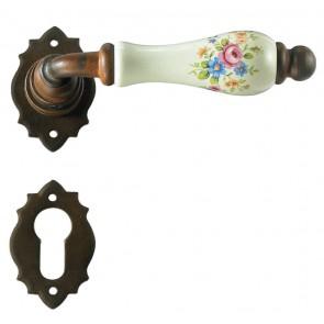Maniglia Classica per Porta in ferro battuto con porcellana Galbusera Art.2601 Ant. Ruggine