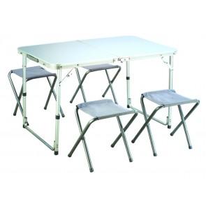 Set Tavolo Campeggio sgabelli e tavolo in alluminio cm 98x61x60h