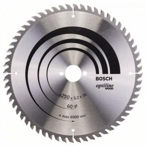 Bosch Lama per sega circolare Optiline Wood 250 x 30 x 3,2 mm, 60