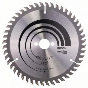 Bosch Lama per sega circolare Optiline Wood 160 x 20/16 x 2,6 mm, 48
