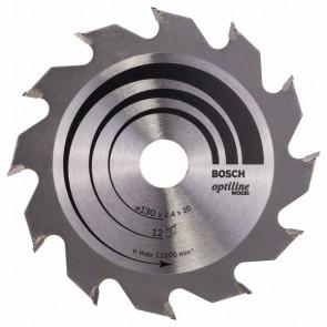 Bosch Lama per sega circolare Optiline Wood 130 x 20/16 x 2,4 mm, 12