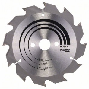 Bosch Lama per sega circolare Optiline Wood 150 x 20/16 x 2,4 mm, 12