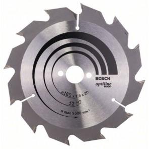 Bosch Lama per sega circolare Optiline Wood 160 x 20/16 x 1,8 mm, 12