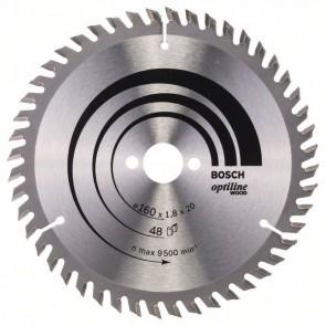 Bosch Lama per sega circolare Optiline Wood 160 x 20/16 x 1,8 mm, 48