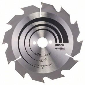 Bosch Lama per sega circolare Optiline Wood 160 x 20/16 x 2,6 mm, 12