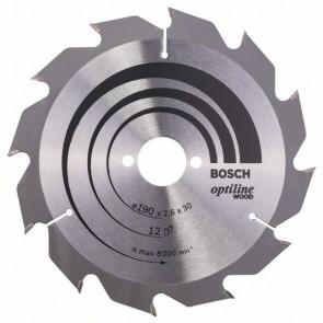 Bosch Lama per sega circolare Optiline Wood 190 x 30 x 2,6 mm, 12