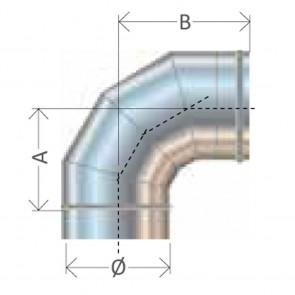 Curva 90 gradi diametro 80 a 400 Canna Fumaria Cordivari Mono Parete Inox 304