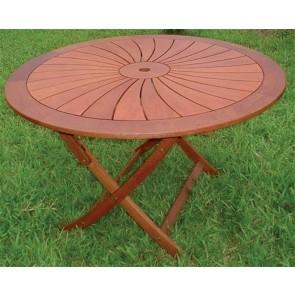 Tavolo Rotondo Giardino Pieghevole FLOWER legno balau diametro 120 x 74h