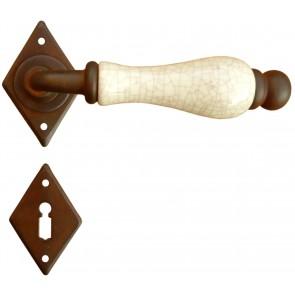Maniglia Classica per Porta in ferro battuto con porcellana Galbusera Art.4-10 Ruggine