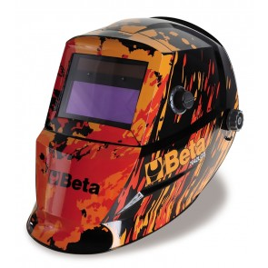 Beta Maschera LCD ad oscuramento automatico, per saldatura ad elettrodo; MIG/MAG; TIG e plasma. Alimentazione a celle solari e batterie al litio per una durata eccezionale del filtro LCD 7042LCD
