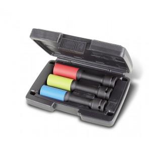 Beta Serie di 3 chiavi a bussola Macchina lunghe colorate con inserti polimerici per dadi ruote in valigetta di plastica 720LCL/C3