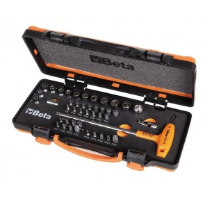 Beta Assortimento di 13 chiavi a bussola esagonali, 28 inserti per avvitatori e 3 accessori, in cassetta di lamiera 900/C44