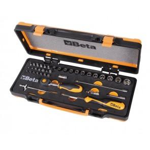 Beta assortimento di 12 chiavi a bussola esagonali, 20 inserti per avvitatori e 7 accessori in termoformato morbido, in cassetta di lamiera 900/C12M