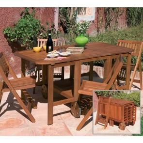 Tavolo Legno con 4 sedie da giardino Richiudibile 150x90x70h serie FLOWER