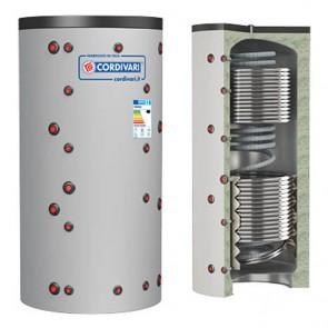 Termoaccumulatore Cordivari ECO COMBI 3 VC 800 a 2000 litri scambiatore corrugato acciaio inox 2 scambiatore fisso