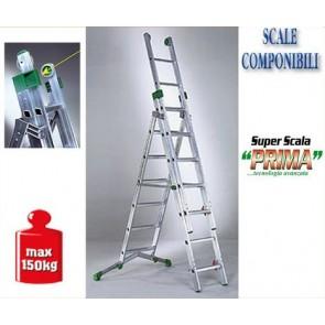 SCALA IN ALLUMINIO SUPER PRIMA FACAL A TRE RAMPE P 320-3 (7.20) CERTIFICATA COMP