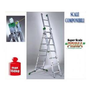 SCALA IN ALLUMINIO SUPER PRIMA FACAL A TRE RAMPE P 380-3 CERTIFICATA