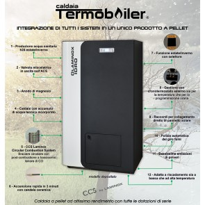 Caldaia a Pellet Laminox TERMOBOILER MAXI MATIC SOLAR 47KW acqua sanitaria