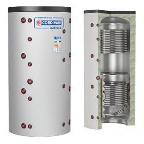 Termoaccumulatore Cordivari PUFFER 2 VT VC 750 a 2000 litri acqua di riscaldamento 2 scambiatore fisso
