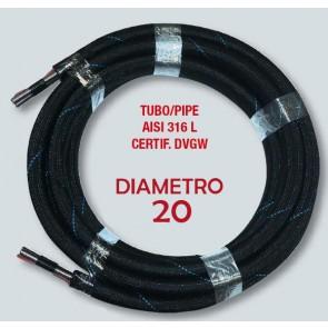 Tubo Pannelli Solari Tecnogas TWOPIPESOLAR binato DM20 da 10 a 25 metri con RACCORD in acciaio inox AISI 316L