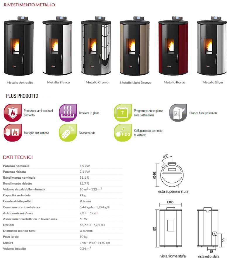 Stufa a Pellet Aria Cadel Rondo 5,5 kW metallo vari colori