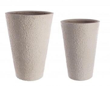 Bizzotto Set2 Vaso Roccia TO Alto Sabbia da Esterno in Fibra di Vetro e Argilla
