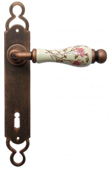 Maniglia Classica per Porta in ferro battuto con porcellana Galbusera Art.1-10 Nero-Ramato