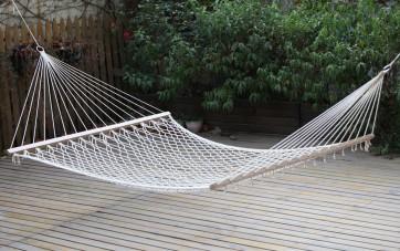 Amaca da giardino Singola o Doppia in rete con asse legno