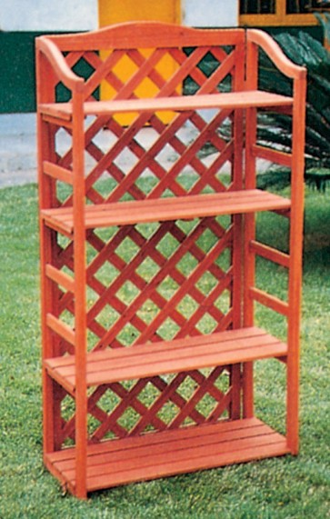 Scaffale con grigliato da giardino in legno 67x30x125h