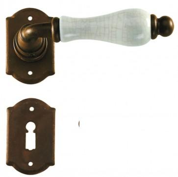 Maniglia Classica per Porta in ferro battuto con porcellana Galbusera Art.2-20 Ruggine