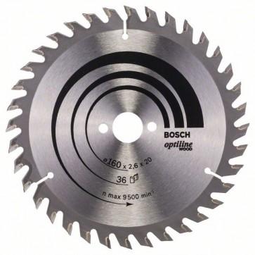 Bosch Lama per sega circolare Optiline Wood 160 x 20/16 x 2,6 mm, 36