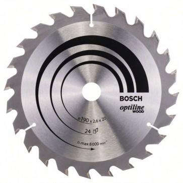Bosch Lama per sega circolare Optiline Wood 190 x 20/16 x 2,6 mm, 24